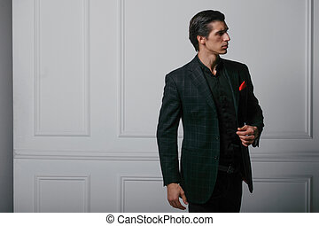 bolsillo, encima, confiado, traje, bufanda, seda, joven, negro, blanco, retrato, hombre, rojo, perfil, fondo.