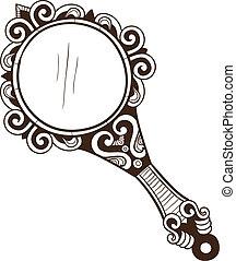 bolsillo, espejo., mujeres