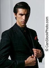 bolsillo, retrato, bufanda, fondo., hombre, encima, seda, traje, sexy, joven, rojo blanco, frontal, negro