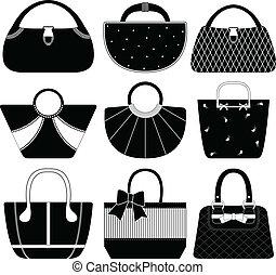 bolso, bolsa, mujer, bolsa, hembra