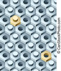 Bolts y tornillos del patrón 3D. Ilustración del vector.