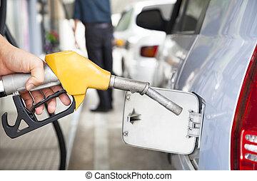bomba combustible, automobil, gasolina, rellenar