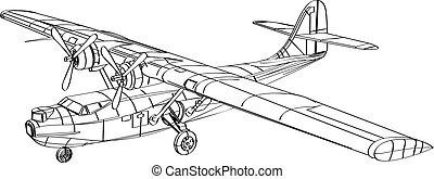 bombardero, patrulle barco, consolidated, pby, dibujo, línea, vuelo, anfibio, avión, catalina