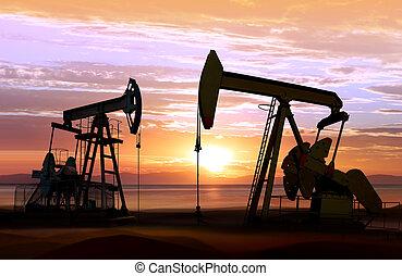 Bombas de aceite al atardecer
