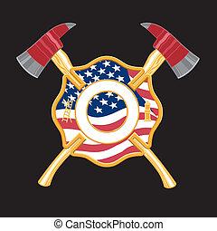 bombero, cruz, hachas