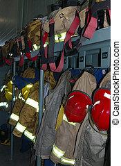 bombero, engranaje, estructural