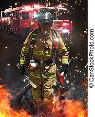 bombero, llegar, peligroso