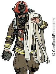 bombero, manguera, fuego
