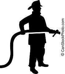 bombero, manguera, silueta