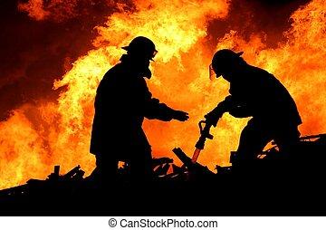 bomberos, valiente, silueta