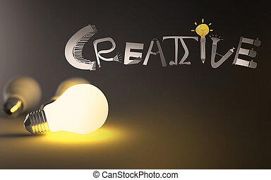 Bombilla 3d y mano dibujada palabra de diseño gráfico Creativo como concepto