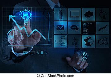 bombilla, concepto, empates, empresa / negocio, solución, mano, computadora, hombre de negocios, interfaz, nuevo