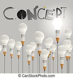 Bombilla de lápiz 3D y diseño palabra CONCEPT como concepto