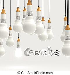 Bombilla de lápiz 3D y diseño palabra CREATIVE como concepto