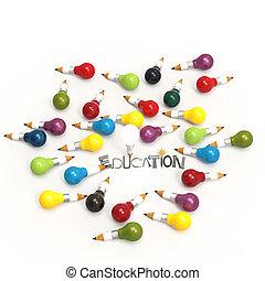 Bombilla de lápiz 3D y diseño palabra EDUCACIÓN como concepto