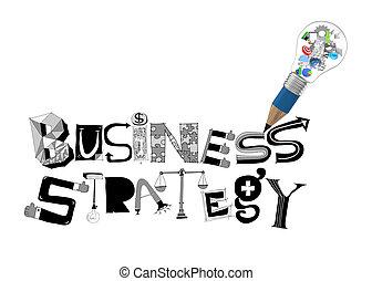 Bombilla de lápiz 3D y diseño palabra estrategia de negocios como concepto