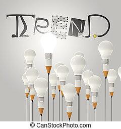 Bombilla de lápiz 3D y diseño palabra TREND como concepto