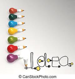 Bombilla de lápiz 3D y idea de diseño como concepto