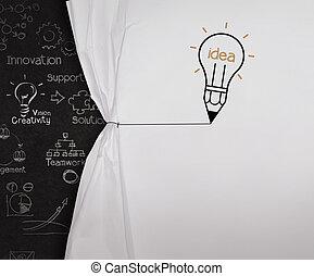 bombilla, lápiz, empate, concepto, exposición, soga, papel, negro, tabla, blanco, arrugado, abierto