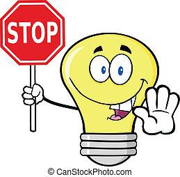 bombilla, luz, parada, tenencia, señal