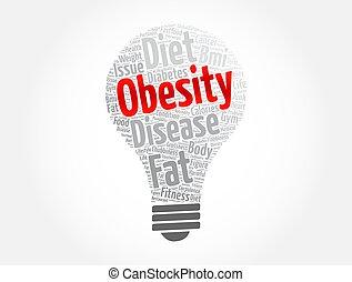 bombilla, obesidad, nube, salud, concepto, palabra, luz, plano de fondo, collage