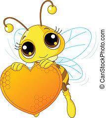 Bonita abeja sosteniendo un corazón dulce