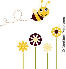 Bonita abeja voladora con flores aisladas en blanco