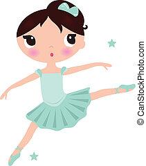 Bonita bailarina aislada en blanco