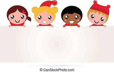 Bonita bandera de Navidad multicultural