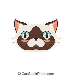 Bonita cabeza de gato, divertida ilustración de caracter de animal de dibujos animados