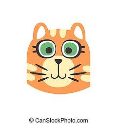 Bonita cabeza de gato rojo con ojos verdes, gracioso personaje animal de dibujos animados, adorable ilustración de vector de mascotas domésticas