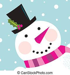Bonita cara de Snowman con fondo nevado