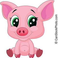Bonita caricatura de cerdo bebé