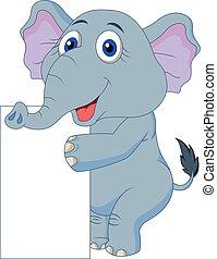 """Bonita caricatura de elefantes con """"si"""" en blanco"""