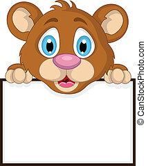 Bonita caricatura de oso marrón