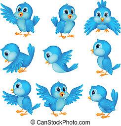 Bonita caricatura de pájaro azul