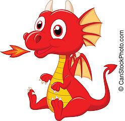 Bonita caricatura del bebé dragón