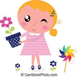 Bonita chica de primavera con flores aisladas en blanco