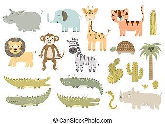 Bonita colección aislada de animales de safari