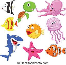 Bonita colección de dibujos animados de la vida marina