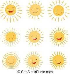 Bonita colección de vectores de carácter solar dibujado a mano