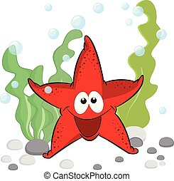 Bonita estrella de mar sonriente con ojos brillantes bajo el fondo del mar.