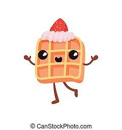 Bonita galleta de sándwich con crema, divertido personaje de dibujos animados de comida rápida con sonrisa vector de ilustración facial en un fondo blanco