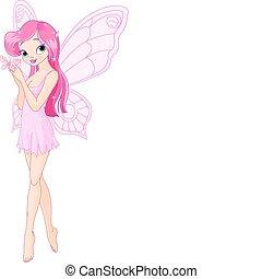 Bonita hada rosa con mariposa