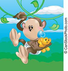 Bonita ilustración de mono