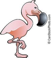 Bonita ilustración del vector de flamenco rosa