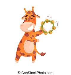 Bonita jirafa con pandereta. Ilustración de vectores sobre fondo blanco.