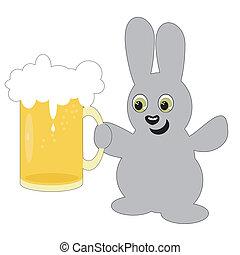 Bonita liebre con jarra de cerveza en blanco
