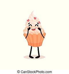 Bonita magdalena con cara graciosa, caricatura humanizada de postre vector de caracter de personaje ilustración en un fondo blanco