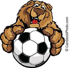 Bonita mascota de oso feliz con fútbol